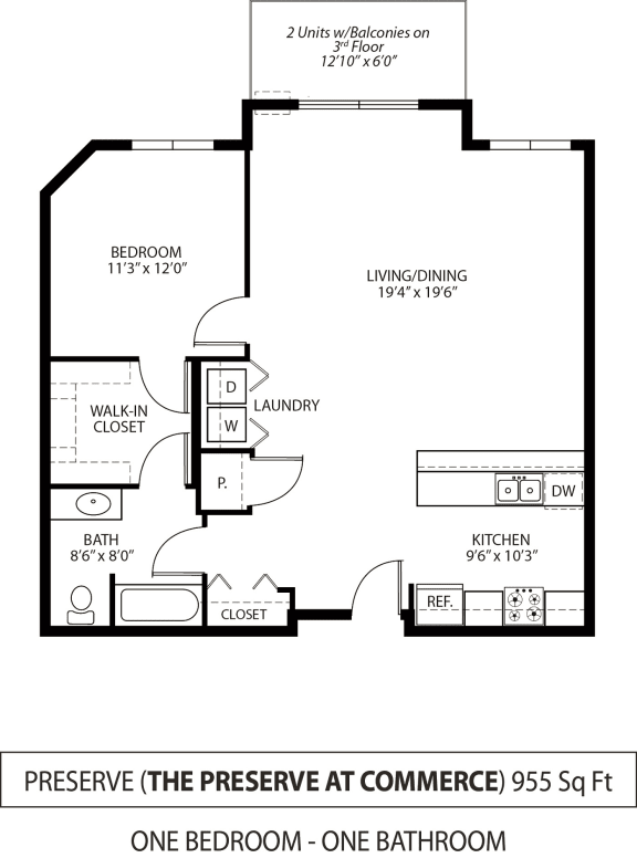 Floor Plan  The Preserve at Commerce Apartments in Rogers, MN 1 Bedroom 1 Bath