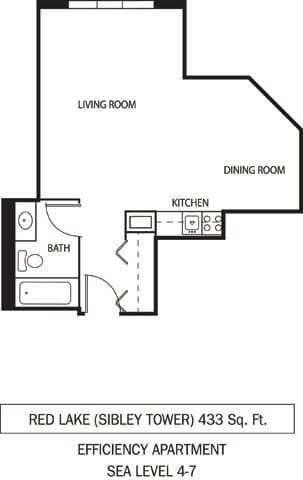 Red Lake Floor Plan Galtier Towers Apartments in Lowertown, St. Paul, MN Studio Apartment