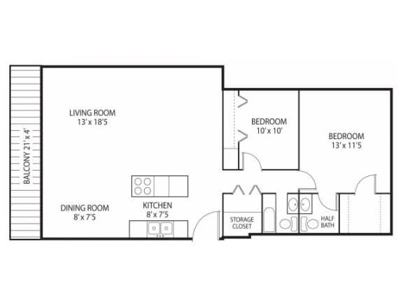 Floor Plan  Beach South at the Lake Apartments in Robbinsdale, MN 2 beds 1.5 bath