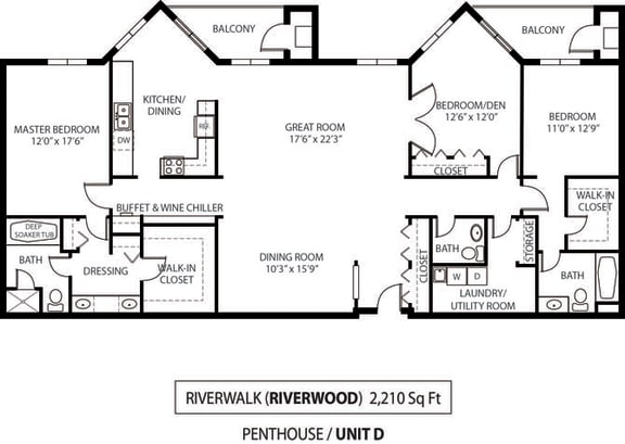 Floor Plan  The Riverwood Apartments in Lilydale, MN 3 Bedroom 3 Bath