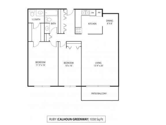 Floor Plan  The Calhoun Greenway Apartments in Minneapolis, MN 2 Bedroom 1.5 Bath