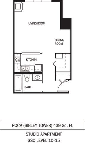 Rock Floor Plan Galtier Towers Apartments in Lowertown, St. Paul, MN Studio Apartment