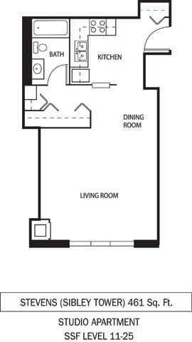 St. Louis and Stevens Floor Plan Galtier Towers Apartments in Lowertown, St. Paul, MN Studio Apartment