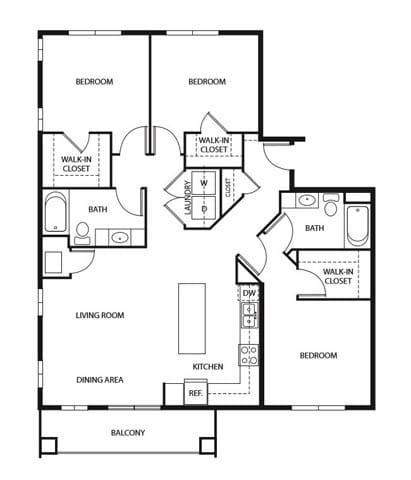 Floor Plan  Evans Meadows Apartments in Elk River, MN 3 Bedroom 2 Bath