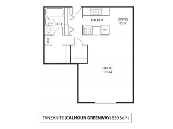 Floor Plan  The Calhoun Greenway Apartments in Minneapolis, MN Studio, opens a dialog