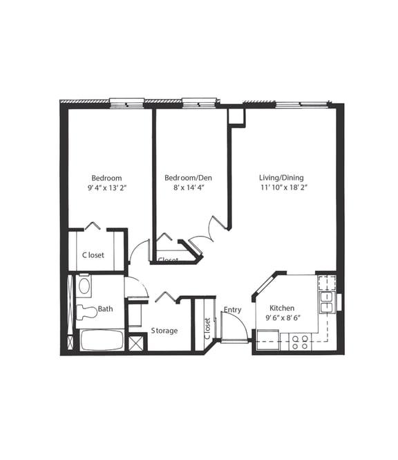 Floor Plan  Vernon Terrace of Edina in Edina, MN 55+ Community 1 Bedroom + Den, 1 Bath