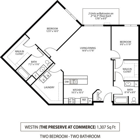 Floor Plan  The Preserve at Commerce Apartments in Rogers, MN 2 Bedroom 2 Bath