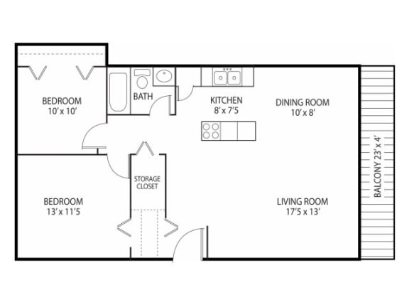 Floor Plan  Beach South at the Lake Apartments in Robbinsdale, MN 2 beds 1 bath