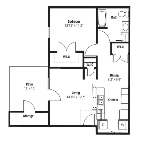Wyandotte One Bedroom floor plan at Shenandoah properties Indiana