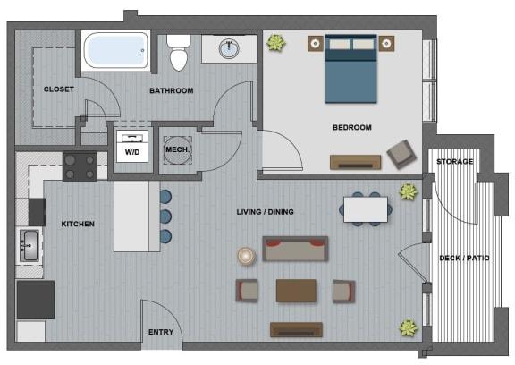 Floor Plan  Edison at Riverwood 1 Bedroom 1 Bathroom (Eastman)