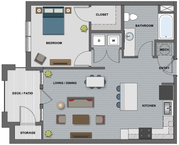 Floor Plan  Edison at Riverwood 1 Bedroom 1 Bathroom (Ford)