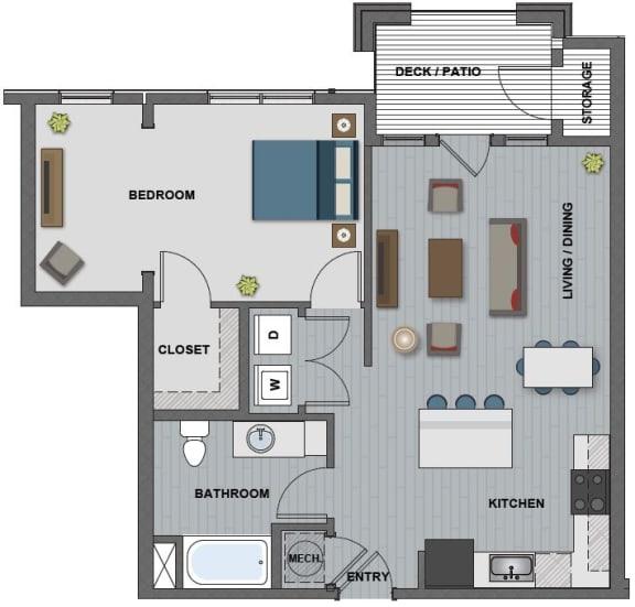 Floor Plan  Edison at Riverwood 1 Bedroom 1 Bathroom (Fuller)