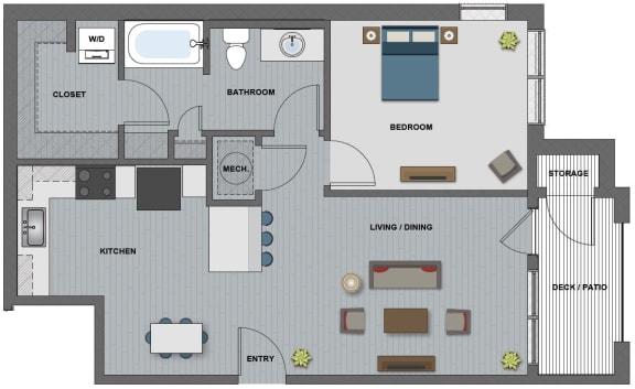 Floor Plan  Edison at Riverwood 1 Bedroom 1 Bathroom (Gates)