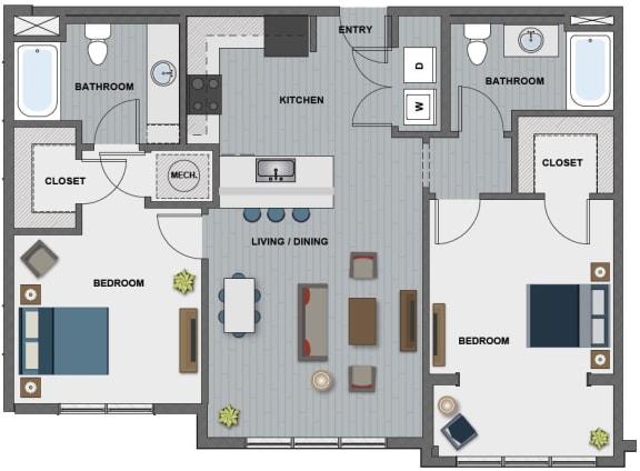 Floor Plan  Edison at Riverwood 2 Bedroom 2 Bathroom (Hopper)