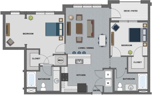 Floor Plan  Edison at Riverwood 2 Bedroom 2 Bathroom (Knight)
