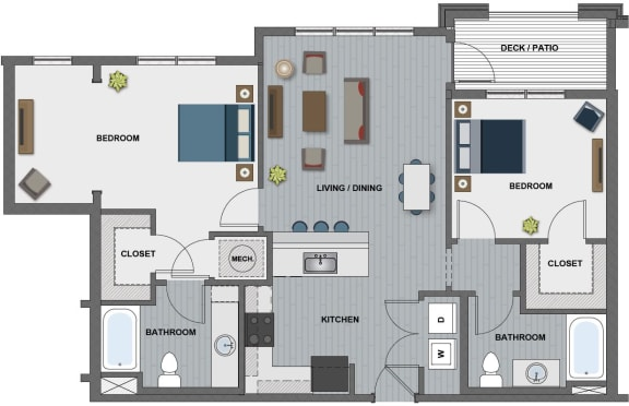Floor Plan  Edison at Riverwood 2 Bedroom 2 Bathroom (Lamarr)