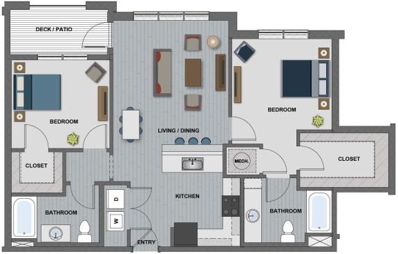 Floor Plan  Edison at Riverwood 2 Bedroom 2 Bathroom (Latimer)
