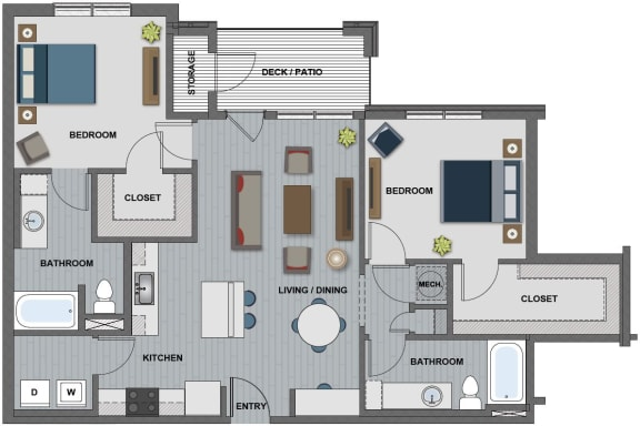 Floor Plan  Edison at Riverwood 2 Bedroom 2 Bathroom (Morgan)