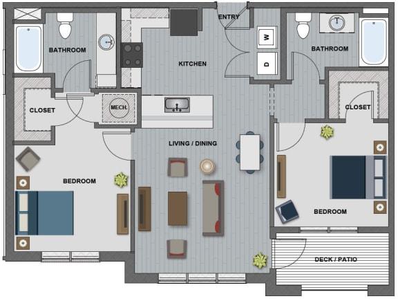 Floor Plan  Edison at Riverwood 2 Bedroom 2 Bathroom (Tesla)