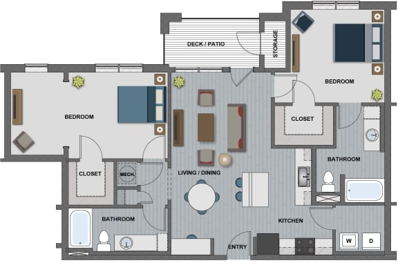Floor Plan  Edison at Riverwood 2 Bedroom 2 Bathroom (Wakefield)