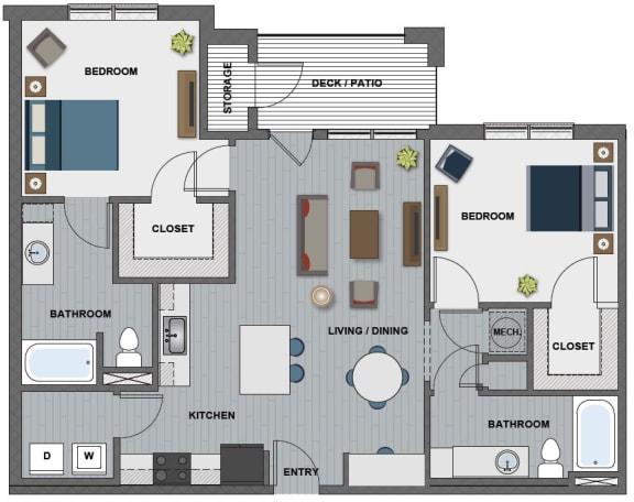 Floor Plan  Edison at Riverwood 2 Bedroom 2 Bathroom (Whitney II)