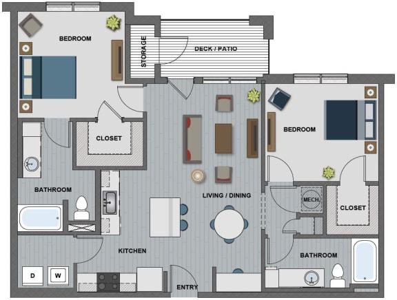 Floor Plan  Edison at Riverwood 2 Bedroom 2 Bathroom (Whitney)