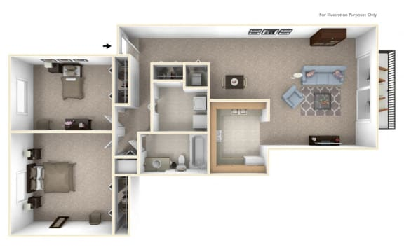 2-Bed/1-Bath, Foxglove Floor Plan at Timberlane Apartments, Peoria, Illinois