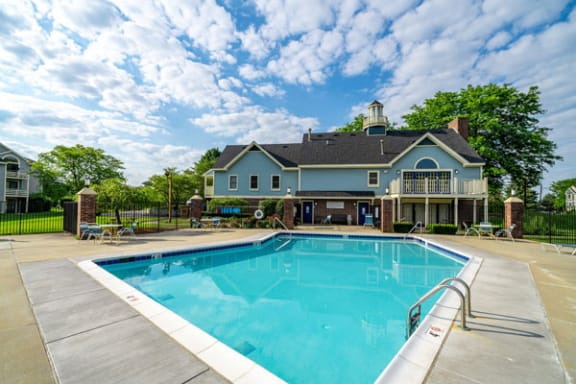 Swimming Pool with Large Sundeck at Hurwich Farms Apartments in Mishawaka, IN