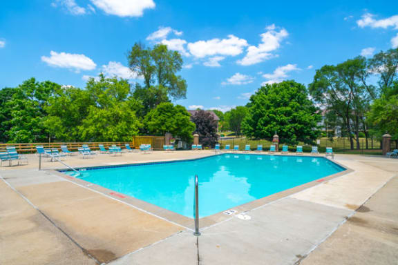 Large Sundeck and Pool at Irish Hills Apartments in South Bend, IN