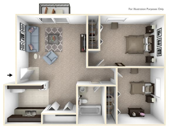 2-Bed/1-Bath, Marigold Floor Plan at Timberlane Apartments, Peoria, IL