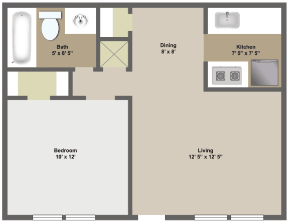 One bedroom, one bathroom two dimensional floor plan.