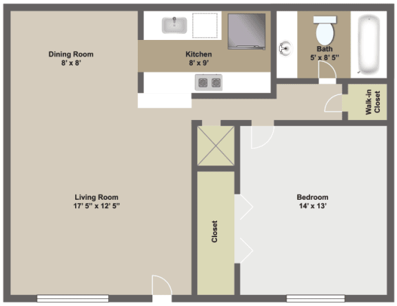 One bedroom, one bathroom 730 square foot two dimensional floor plan.