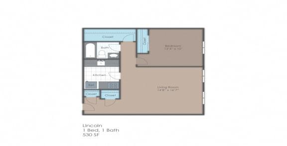 One bedroom floorplan layout