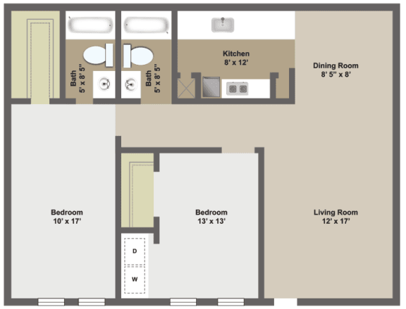 Two bedroom, two bathroom two dimensional floor plan.