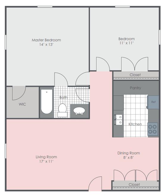 2 Bedroom 1 Bath floor plan image 725 sq ft