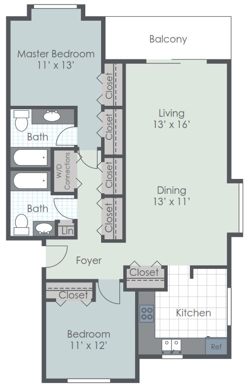 2 Bedroom 2 Bath 1163 sq ft floor plan image