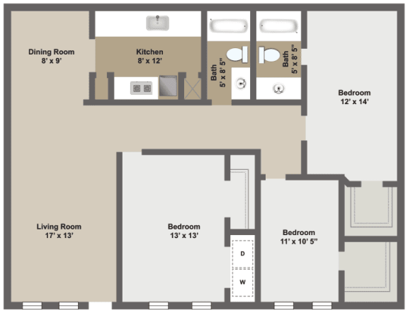 Three bedroom, two bath two-dimensional floor plan.