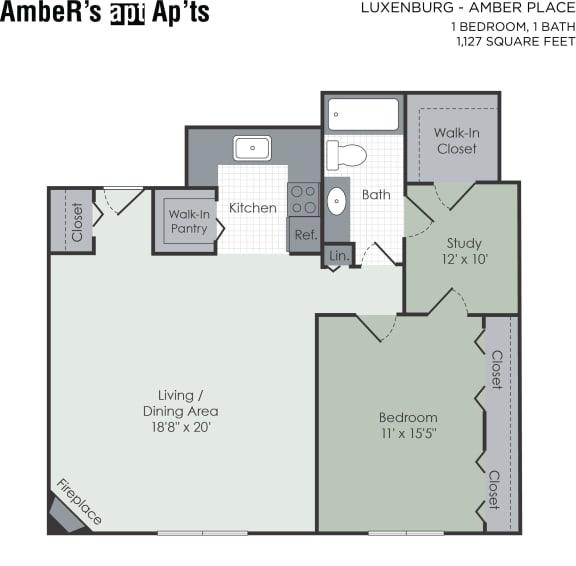 Floor Plan  1 bedroom with den floor plan