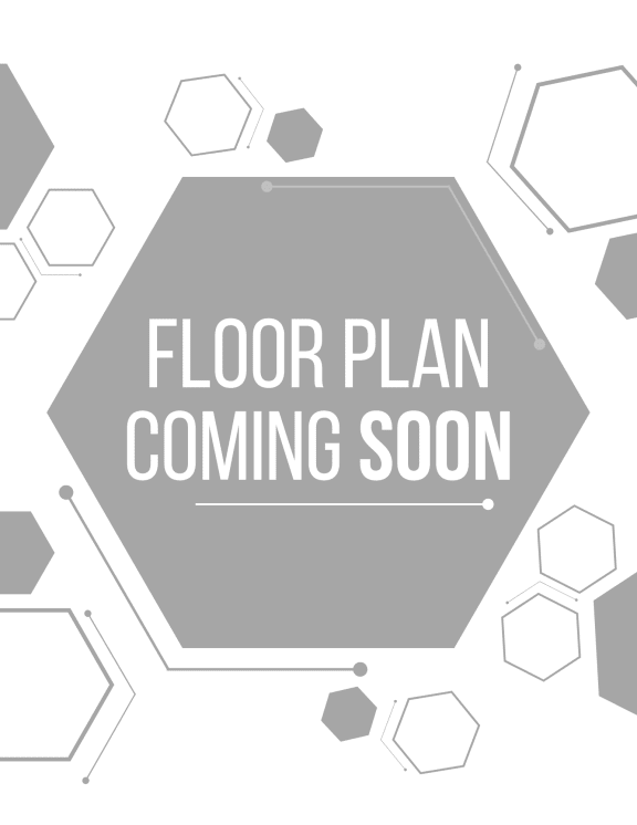 Grey and white graphic with hexagons and the text floor plan coming soon.