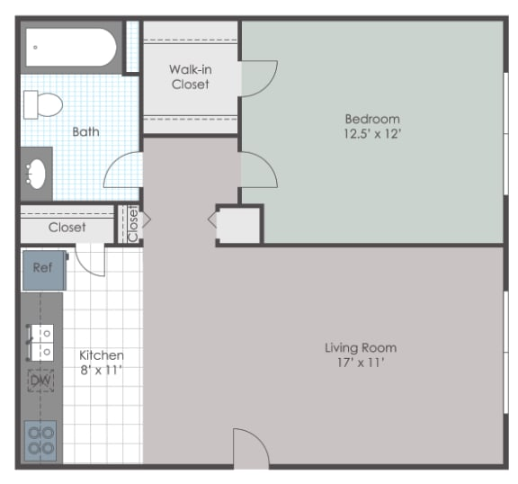 1 bedroom floorplan layout