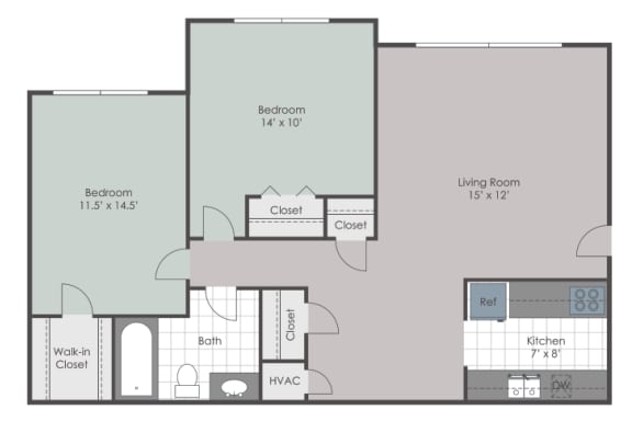 2 bedroom floorplan layout