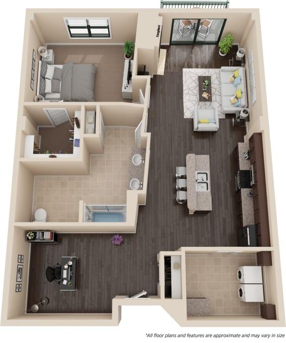 Floor Plan  One Bedroom One Bath w/Den