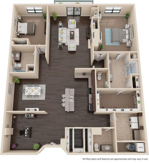 Floor Plan  Two Bedroom Two and a Half Bath w/Den