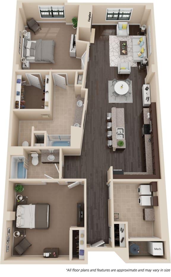 Floor Plan  Two Bedroom Two Bath w/Den