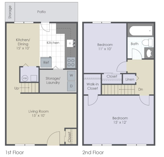 Two bedroom, one bath 2D Townhome.
