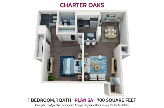 Floor Plan  One Bedroom Plan 3A