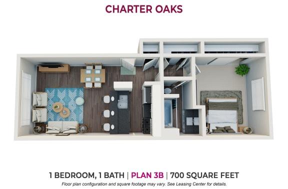 Floor Plan  One Bedroom Plan 3B