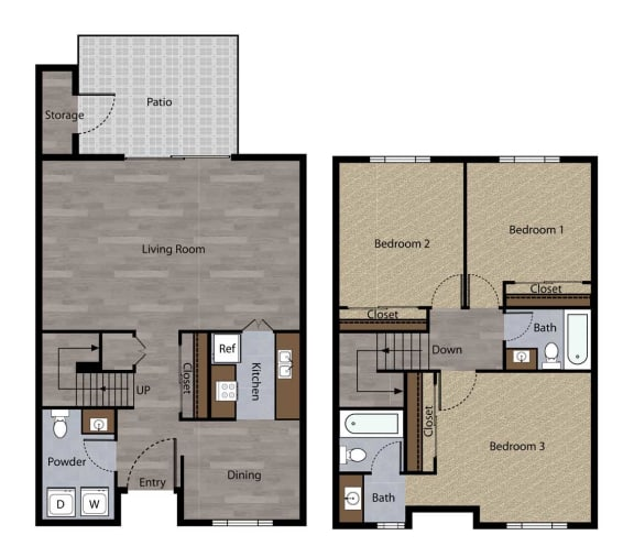 Three Bedroom Townhome Plan G Floorplan at St. Charles Oaks Apartments, California