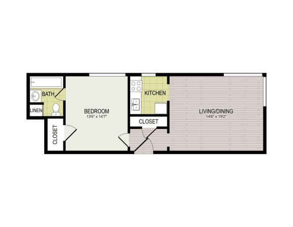 Floor Plan  Broadview Apartments 1C1B  Floor Plan
