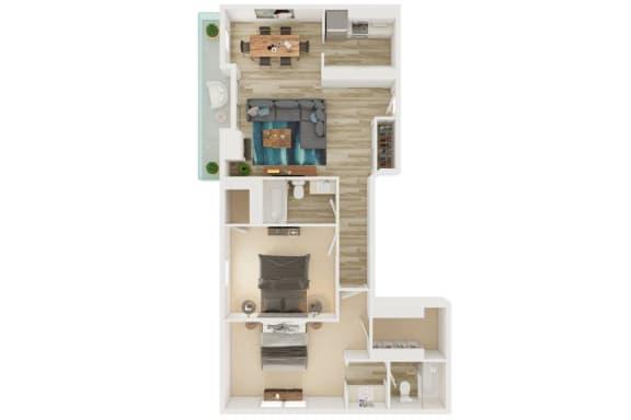 Mission Lofts Apartments 2x2 A 2D Floor Plan